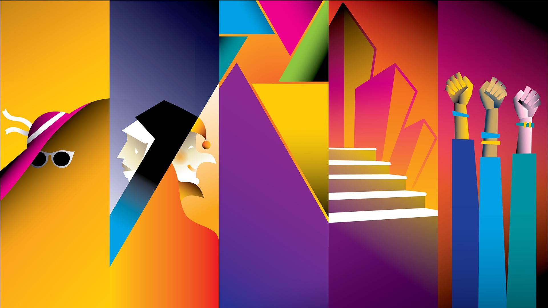 Colorful five-panel graphic art of hat, sunglasses, a nun, a jester, a staircase and three raised fists
