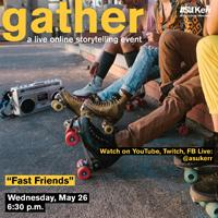 Friends in skates hang out with boombox - gather eflyer