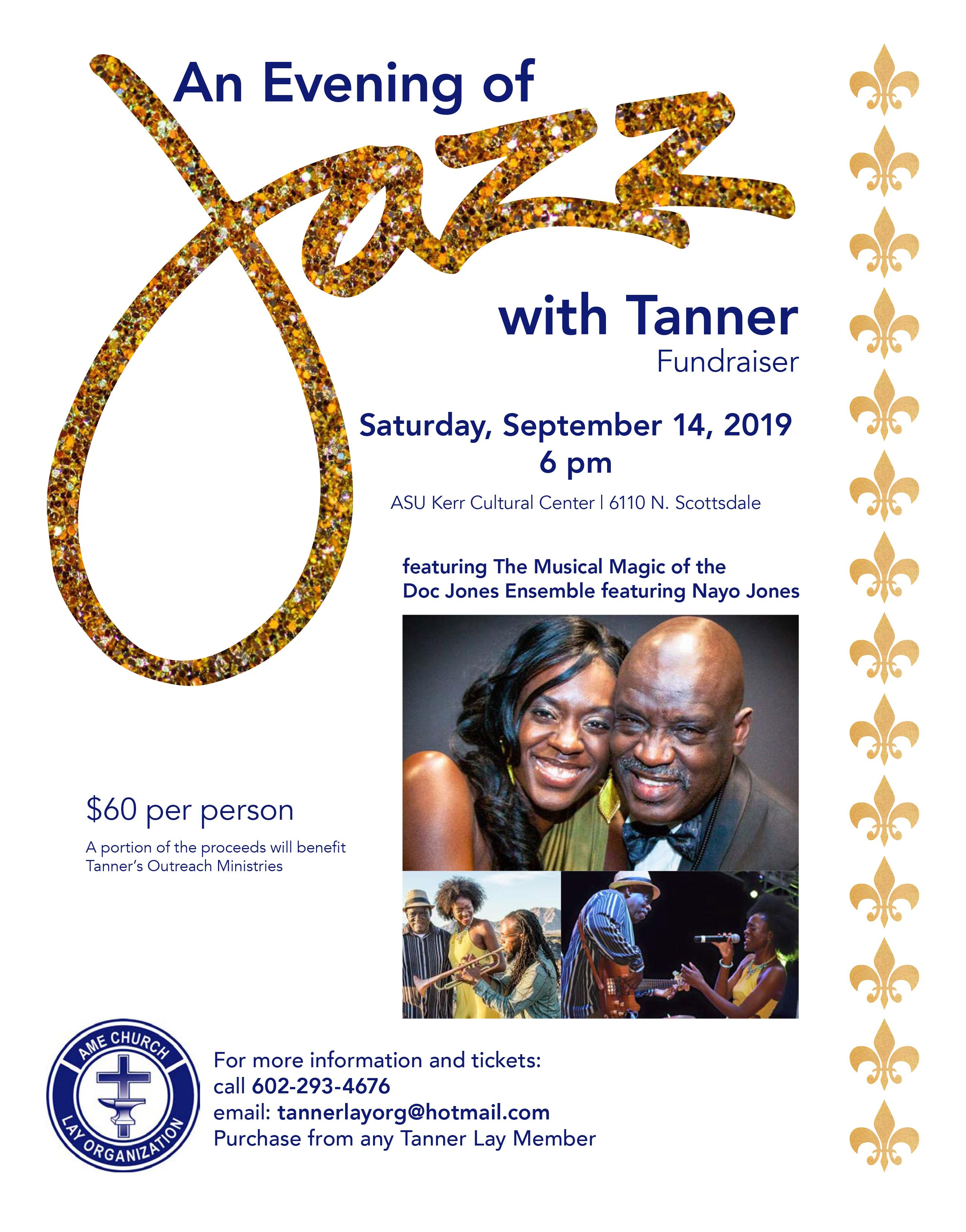 Flyer featuring Doc Jones and Nayo Jones - A Evening of Jazz with Tanner