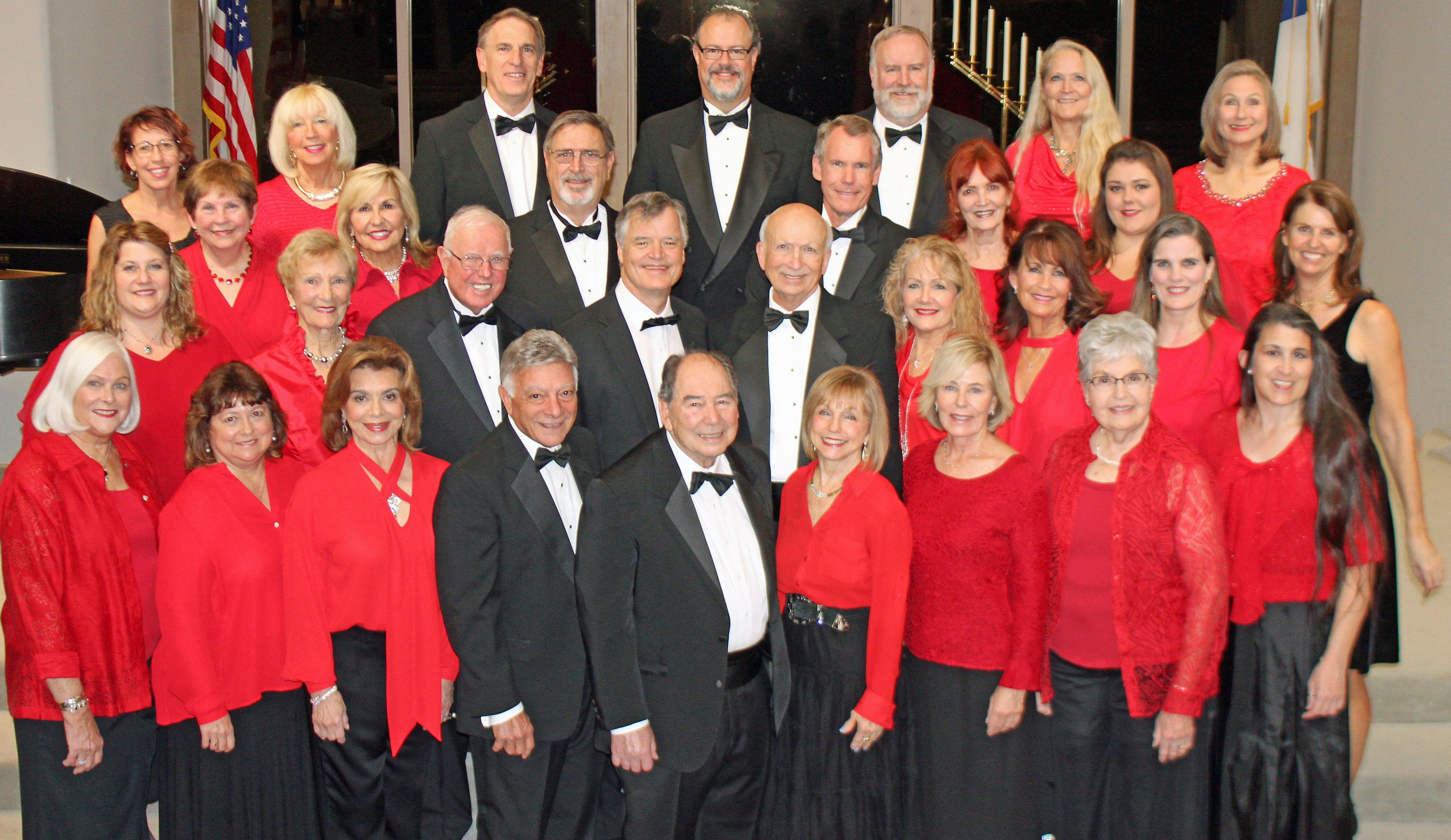 Upscale Singers, a large adult choral organization posed for a group shot.